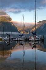 Preview iPhone wallpaper Lake, mountain, boat, morning, fog