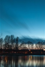 Preview iPhone wallpaper Lake twilight scenery, houses, trees, pond, evening