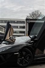 Lamborghini Aventador LP700-4 black supercar side view