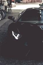 Preview iPhone wallpaper Lamborghini Aventador black supercar front view, door opened