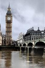 Preview iPhone wallpaper London Bridge, the Thames, clock Big Ben, buildings