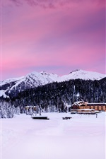Preview iPhone wallpaper Madonna di Campiglio, Italy, Alps, mountains, trees, snow, houses, dusk