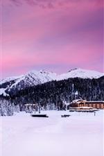 Madonna di Campiglio, Itália, Alpes, montanhas, árvores, neve, casas, crepúsculo