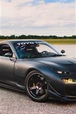 iPhone fondos de pantalla Mazda RX-7 superdeportivo negro vista lateral