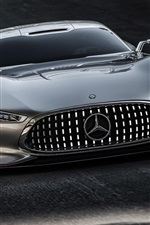 Mercedes-Benz AMG silver car front view