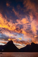 Milford Sound, New Zealand, sunset, mountains, sea, clouds