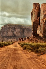 Preview iPhone wallpaper Monument Valley, Arizona, USA, road, gravel, rocks, bushes, clouds