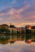 Preview iPhone wallpaper Moscow, Novodevichy Convent, summer, river, trees, dusk