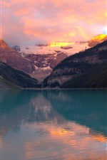 Mountains, forest, lake, sunset