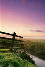 Preview iPhone wallpaper Nature landscape, morning, dew, grass, fence, river, fog, trees