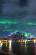 Preview iPhone wallpaper Norway, Lofoten Islands, night, northern lights, coast, lights