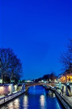 Preview iPhone wallpaper Notre Dame de Paris, France, city, night, trees, bridge, river, lights