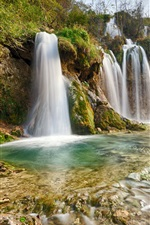 Preview iPhone wallpaper Plitvice National Park, nature landscape, waterfalls, river