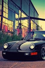 Porsche black car, building, dusk