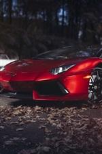 Red Lamborghini Aventador LP700-4 supercar at night