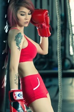 Preview iPhone wallpaper Red dress asian girl, boxing, sports
