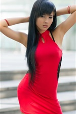 Preview iPhone wallpaper Red dress asian girl, look, long hair