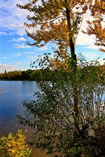 Preview iPhone wallpaper Russia, Yaroslavl, river, trees, sky, clouds, autumn