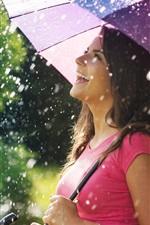 Preview iPhone wallpaper Smile joy girl, umbrella, rain, summer