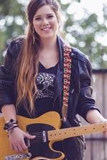 Preview iPhone wallpaper Smiling girl, guitar, glare