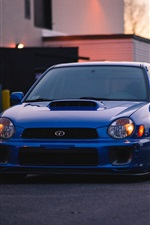 Preview iPhone wallpaper Subaru blue car front view
