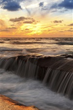Preview iPhone wallpaper Sunset sea scenery, ocean, sky, clouds, streams, rocks