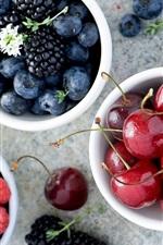 Preview iPhone wallpaper Sweet fruit, blackberries, blueberries, raspberries, cherries
