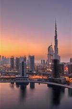 ОАЭ, Дубай, фары, рассвет, городские здания