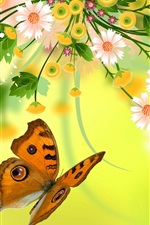 Preview iPhone wallpaper Vector flowers, butterfly, design