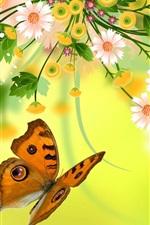 미리보기 iPhone 배경 화면 벡터 꽃, 나비, 디자인