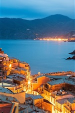 Vernazza, Italy, Cinque Terre, Liguria, evening, city, lights, houses