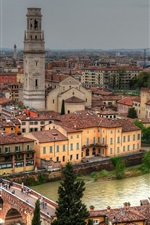 Verona, Italy, Adige River, Ponte Pietra Bridge, buildings