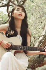 Preview iPhone wallpaper White dress girl, asian, guitar