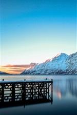 Preview iPhone wallpaper Winter landscape, mountains, snow, lake, pier