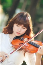 Asian girl, violin, music, sunlight