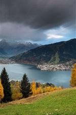 Preview iPhone wallpaper Austria scenery, mountains, lake, autumn