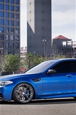 BMW M5 F10 blue car, buildings