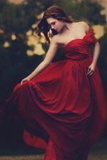 Beautiful red dress girl, dusk