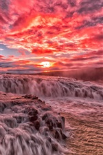 Preview iPhone wallpaper Beautiful sunset, river, rapids, stream, clouds, glow, red sky