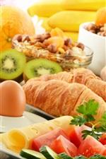 Preview iPhone wallpaper Breakfast, coffee, croissants, kiwis, oranges, food
