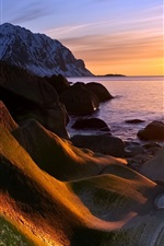 Preview iPhone wallpaper Coast sunset, sea, sun, mountains, rocks