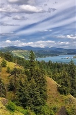 Coeur d'Alene Lake, forest, trees, mountains, clouds