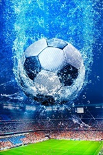 Preview iPhone wallpaper Creative design, football, stadium, water