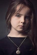 Preview iPhone wallpaper Cute little girl, black dress, black background