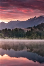 Preview iPhone wallpaper Dawn landscape, nature, mountains, forest, lake, morning, fog