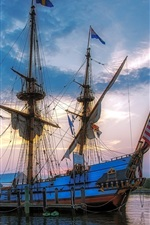 Preview iPhone wallpaper Dock, sea, ship, masts, sails, cordage, flag, sky, clouds
