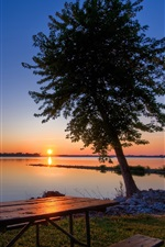 Preview iPhone wallpaper Dusk lake, sunset, tree, table, chair