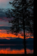Preview iPhone wallpaper Dusk landscape, lake, trees, mountains, sunset, twilight