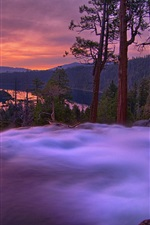 Preview iPhone wallpaper Dusk landscape, mountains, lake, trees, waterfall, sunset
