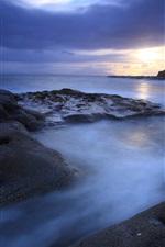 Evening, sea, ocean, rocks, mountain, sunset, sky, clouds, blue